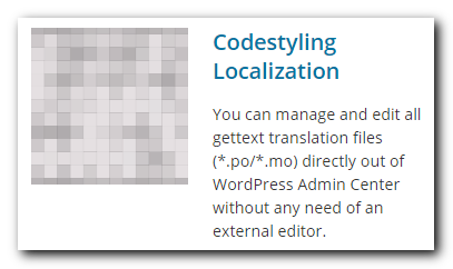 Codestyling Localization WordPress plugin
