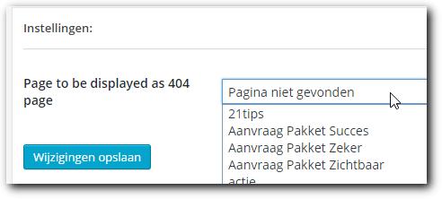 Activeer je 404 pagina met de plug-in